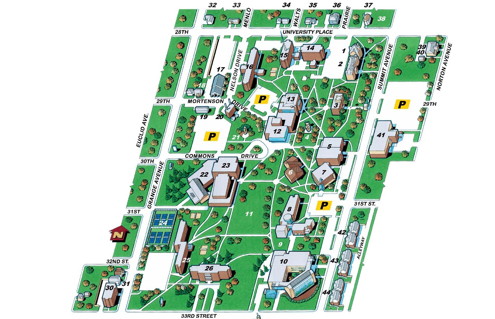 university of south dakota campus map Campus Map North Augustana University university of south dakota campus map