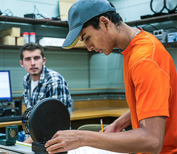 Students work in the Physics Lab