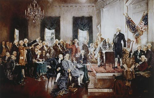 The Scene at the Signing of the Constitution, oil painting by Howard Chandler Christy, 1940