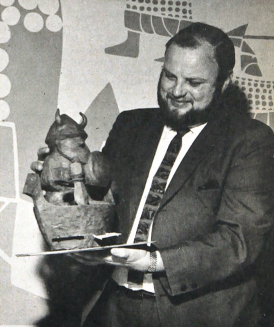 Peter Eide with his winning model of Ole the Viking.