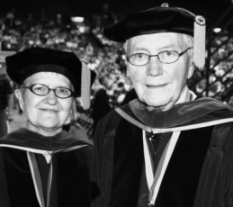 Joyce and V.R. Nelson at the 2005 Commencement where they received the Friend of Augustana award