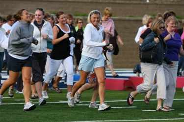 On the field at the 2009 Women's Football Clinic