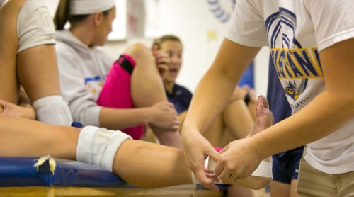 A Student Gets Their Ankle Wrapped