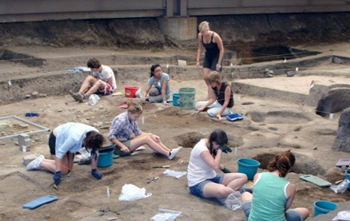 Anthropology students on a dig at the Thomsen Center Archeodome in Mitchell, S.D.
