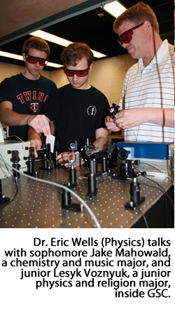 Dr. Eric Wells and students Jake Mahowald and Lesyk Voznyuk