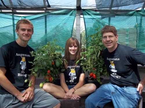 Buchanan, Cummiskey, and Dr. Matzner in Greenhouse