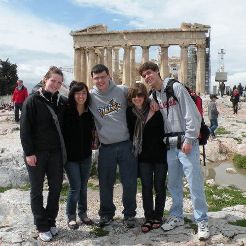 Augustana Students in front of the Parthenon in Athens on the 2009 Distinguished Scholars Travel Experience