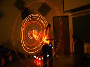 A professor uses light to demonstrate a principle of physics