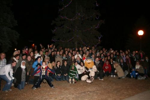 Lighting the Augustana Christmas tree