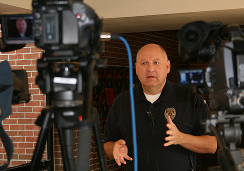 Rick tupper visits with media on fire rescue training day