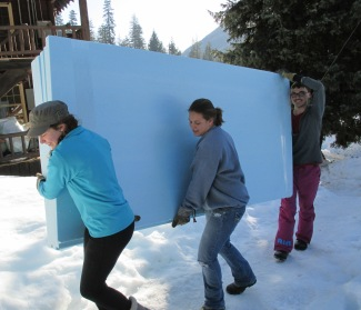 Carrying sheetrock at Holden Village Spring Break 2014
