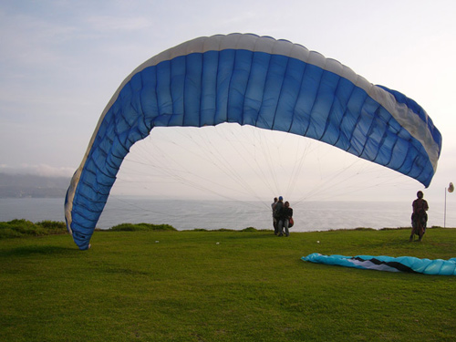 People paragliding in Peru.