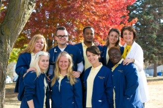 Espen and Christina Nomel with other nursing students from Norway