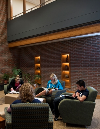 Students reading in the Mikkelsen Library