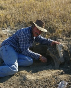 Michael-Fosha, excavating bison at site 39HN1666, Harding County, South Dakota
