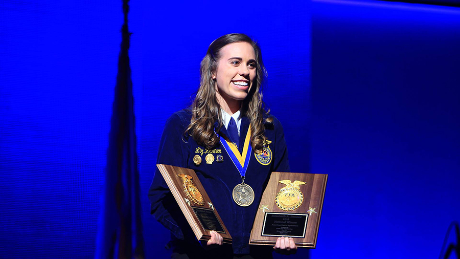 Augustana University senior Liz Renner has earned a national award from the FFA.