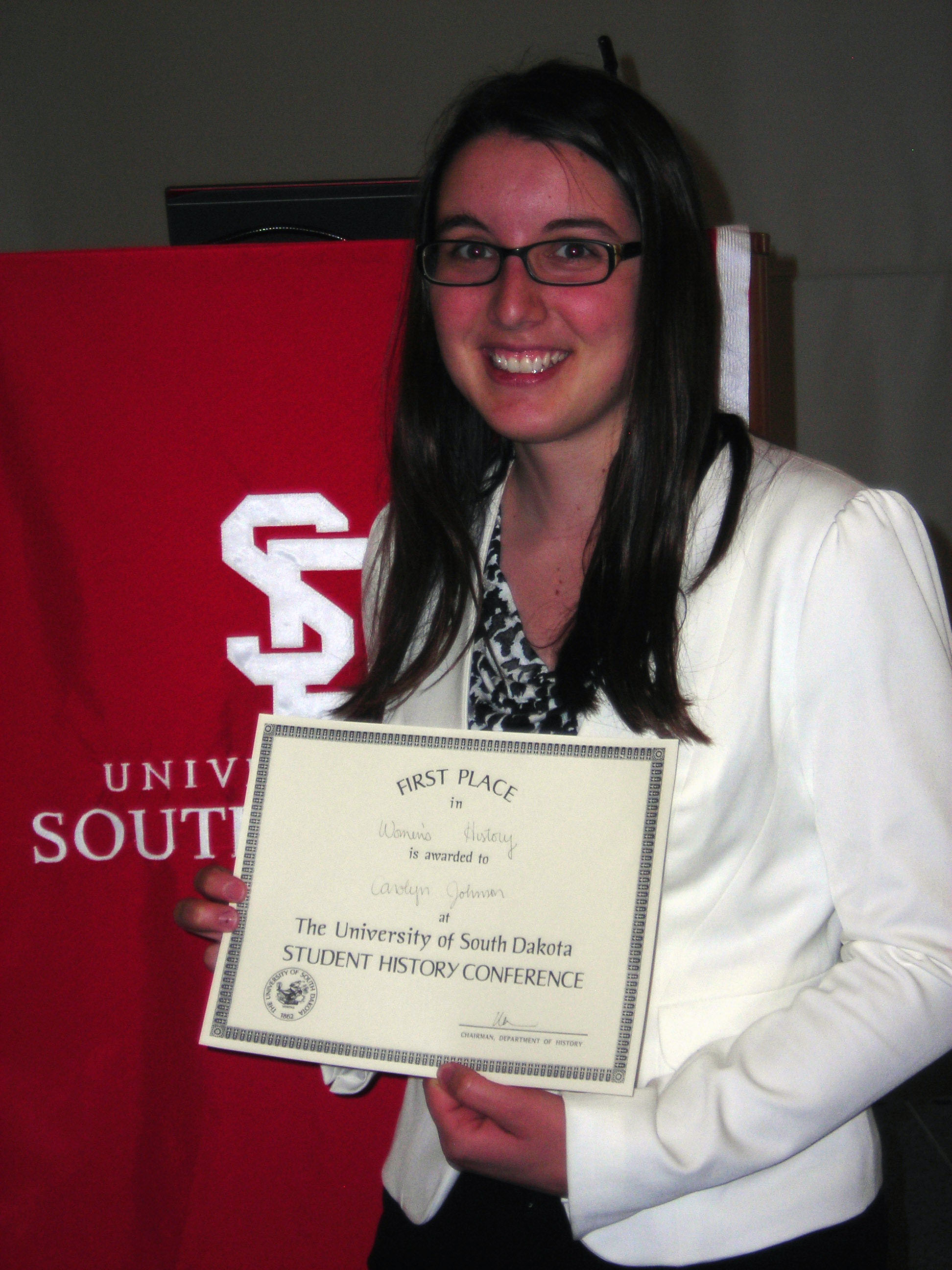 Carolyn Johnson was awarded the Phi Alpha Theta award.