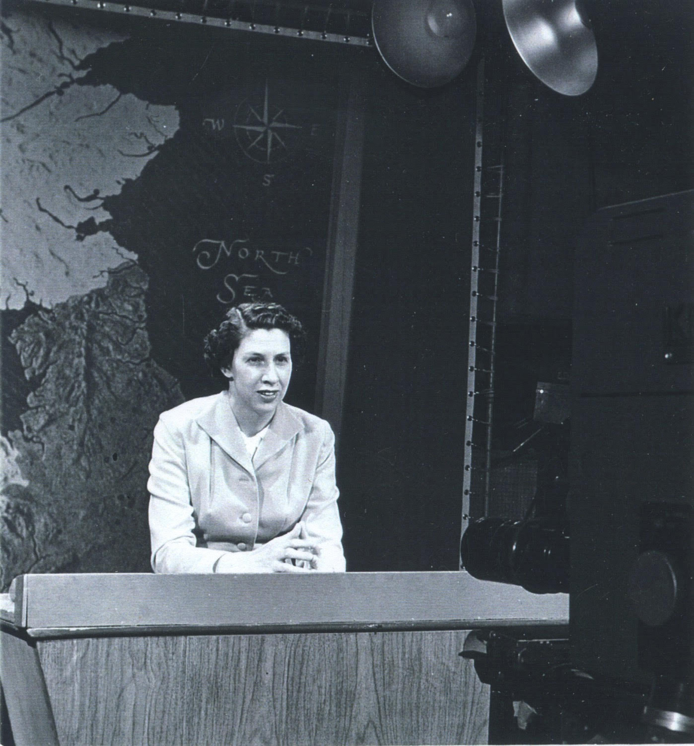 Dr. Lucy Fryxell teaches one of Augustana's first classes to be broadcast live on TV. Circa 1964.