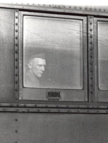 Archie Hildebrand on the train for Fort Ord, CA, 1940