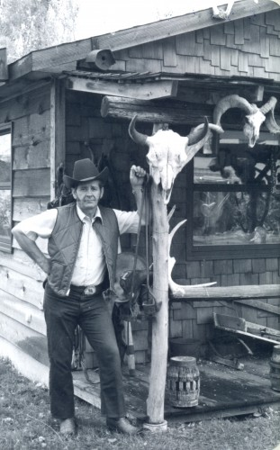 Jim Savage Outside His Workshop, 1970