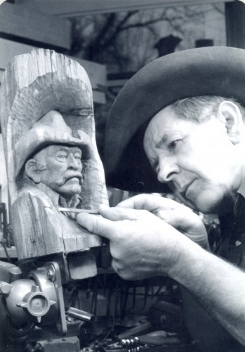 Jim Savage Carving a Fencepost