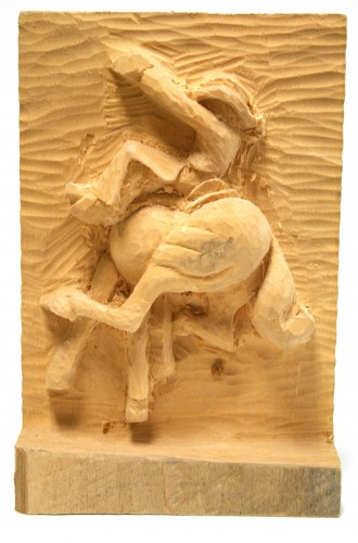 Unfinished Carving of Cowboy Riding a Bucking Horse by Jim Savage