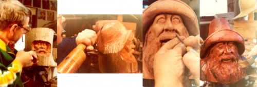 Collage of Jim Savage's Woodcarving Process